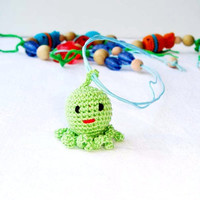 Octopus Mommy Teething Necklace - Nursing Necklace - Sling Accessory  - Waldorf toy - Wrap - Baby Carrier - Wooden toy - developing toy