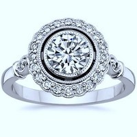 1.73ct H-VS2 Art Deco Round Diamond Engagement Ring GIA certified 18kt  JEWELFORME BLUE