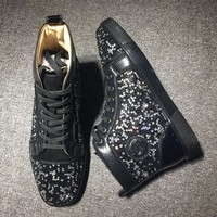 Cl Christian Louboutin Rythinestone Style #1920 Sneakers Fashion Shoes