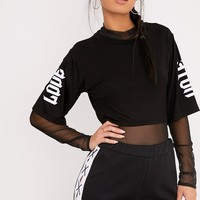 Love & Hate Black Wide Sleeve Crop T Shirt