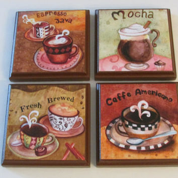Coffee Kitchen Room Wall Plaques Brown Frame - Set of 4 Colorful Coffee Room Decor - SET #1 - Whimsical Coffee Wall Signs