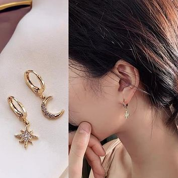 Trendy Gold Color 316L Stainless Steel Zircon Crystal Star Moon Pattern Earrings for Women Simple Jewelry Gift New