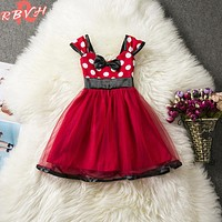 Little Baby Girl Princess Dress Red 1 Year Birthday Party Outfit Summer Toddler Girls Kids Clothes Children Costume
