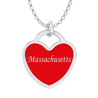 Massachusetts Heart Necklace in Solid Sterling Silver