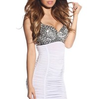 White Ruched Party Dress with Silver Sequins and Beaded Bra