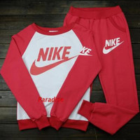 "Women Fashion ""NIKE"" Print Hoodie Top Sweater Pants Sweatpants Set Two-Piece Sportswear Red"