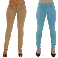 Womens Trousers Pants Stretch Slim Fit Skinny Jeggings Plain Push Up Leggings US