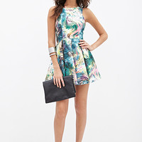Abstract Print A-Line Dress