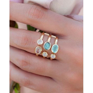 Kimberly Ring * Amethyst, Labradorite, Moonstone and Teal Chalcedony * Gold Vermeil * BJR090
