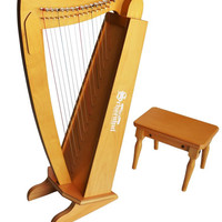 15 String Harp w/ bench, Cherry