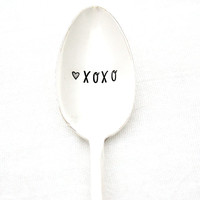 XOXO hand stamped spoon. Coffee spoon for your sweetheart. Hand stamped silverware by Milk & Honey.