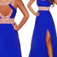 2014 blue New Long Chiffon Bridesmaid Evening Formal Party Ball Gown Prom Dress
