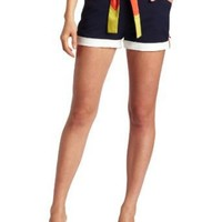 C. Luce Women's Belted Colorblock Short