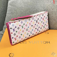 Louis Vuitton LV Women Fashion New Monogram Print Leather Double Zipper Wallet Purse