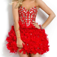 red organza prom dress with rhinestone / homecoming dress with bow / sweetheart cocktail gowns / short latest dresses for holiday party