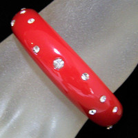 Red Lucite Crystal Rhinestone Bangle Bracelet, Layering Piece, Classic Style Bangle, Arm Party, Costume Jewellery 1017