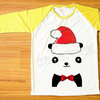 Merry Christmas Bow Panda T-Shirt Merry Christmas Shirt Yellow Sleeve Shirt Women T-Shirt Men T-Shirt Unisex T-Shirt Baseball T-Shirt S,M,L