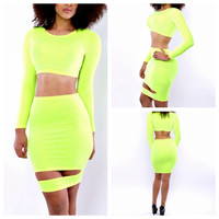 Yellow Long Sleeve Cropped Top and Cut-Out Bodycon Skirt