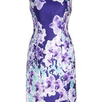 Purple Sleeveless Floral Print Bodycon Midi Pencil Dress
