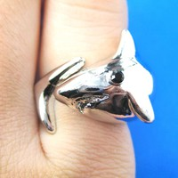 Great White Shark Wrap Around Sea Animal Ring in Shiny Silver | Size 5 to 7