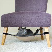 Fully Adjustable Cat Crib Hammock Under Chair Lounge Bed Dark Grey + Beige