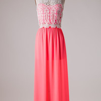 Graceful in Lace Maxi Dress -  Neon Coral