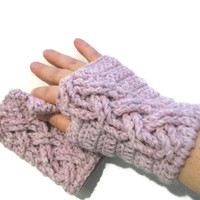 Fingerless mittens, texting gloves with braided cables