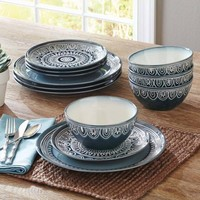 Better Homes and Gardens Teal Medallion 12-Piece Dinnerware Set, Teal - Walmart.com
