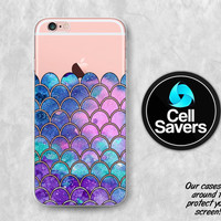 Mermaid Scales Clear iPhone 6s Case iPhone 6 Case iPhone 6 Plus Case iPhone 6s Plus iPhone 5c Case iPhone 5 Clear Case Purples Cute Scales