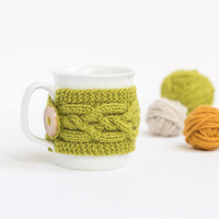 Cup Cozy in Pistachio, Knitted Mug Cozy, Coffee Cozy, Tea Cup Cozy, Handmade Wooden Button, Coffee Cozy Sleeve, Warmer, Fall, Autumn, Gift