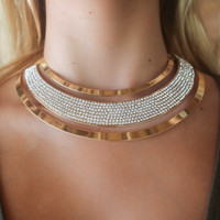 Prim And Proper Gold Clear Open Formal Choker With Rhinestones