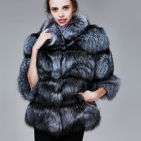 Winter Real Silver Fox Fur Coats Women Warm Natural Color Fox Fur Jacket Female Thick Fox Fur Overcoat Clothing