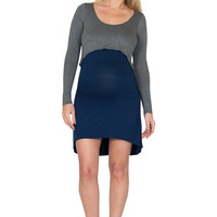 Blue and Grey Contrast Maternity Dress - Layered in Love