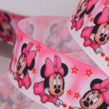 Pink Baby Girl  Minnie Mouse Printed Grosgrain Sewing Craft Ribbon