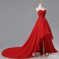 Red sweetheart neckline high-low ruched A-line chiffon satin prom bridesmaid dress evening dress Christmas dress ET263