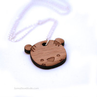 Tiger Pendant Cute Bamboo Necklace Laser Cut Wood Wooden Animal Jewelry Fun Gifts Gift Ideas For Friends Teens Girls Her Sister Girlfriend
