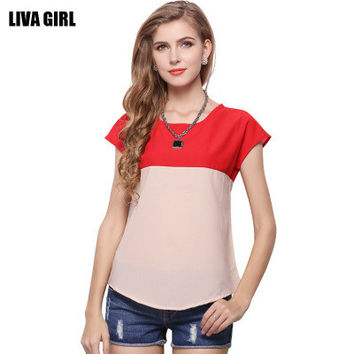 Women Chiffon Mixed Color Loose Short Sleeve Top T-Shirt _ 10658
