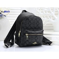 Coach fashion hot seller printed ladies casual shopping backpack Black