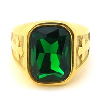 316L STAINLESS STEEL EMERALD GREEN RING 8-12 BR016G