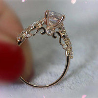 Solid 14K Rose Gold 6.5mm VS Morganite Ring Diamonds Engagement Ring Wedding Band Ring Promise Ring Morganite Jewelry