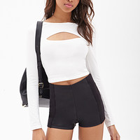 FOREVER 21 Faux Leather High-Rise Shorts Black