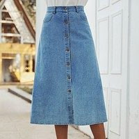 Women's non-slip all-match high-waist denim skirt