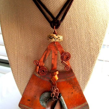 Copper Tribal Boho Statement Necklace Geometric Shape Copper with Copper Disks Wooden Beads on Long Brown Suede Cord Unique OOAK Necklace