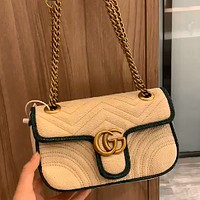 Gucci marmont embroidered chain love heart wave pattern women's chain bag shoulder messenger bag