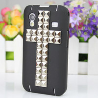 Black Hard Case Cover With Silvery Stud For Samsung Galaxy Ace S5830