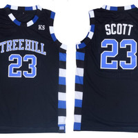 Black Basketball Jerseys Stitched Nathan Scott 23# One Tree Hill Ravens Basketball Jersey Vintage