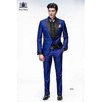 2015 Italian Mens Suits Royal Blue Wedding Tuxedos Jacket+Pants+Tie Groom Tuxedos Men Wedding Suits Groomsmen Prom Suits