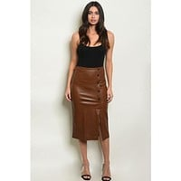 Faux Leather Button Down Pencil Skirt