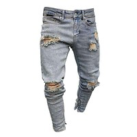 Stylish Men Faded Wash Ripped Skinny Denim Jeans