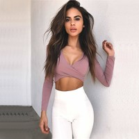 Trendsy Sexy Long Sleeve Cropped Cross Top